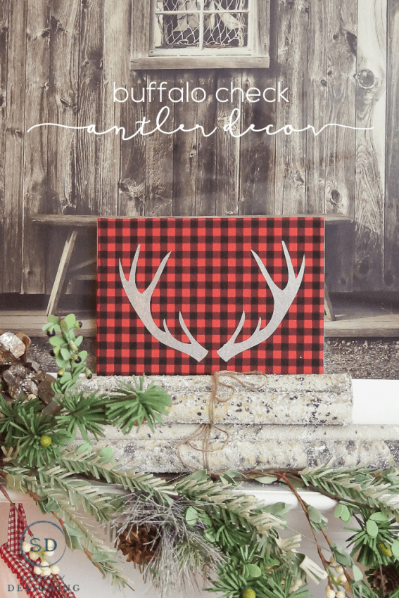 Buffalo Check Antler Decor