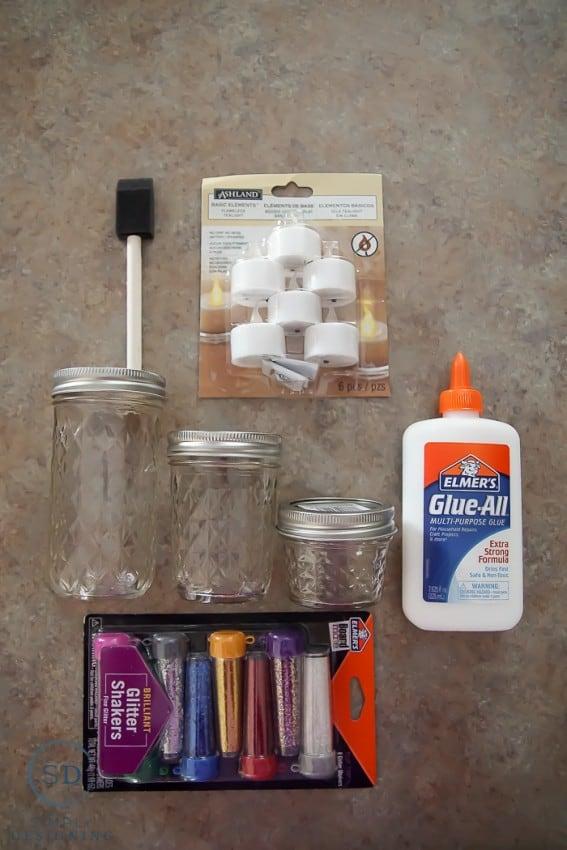 DIY Gold Glitter Mason Jar Luminaries - supplies