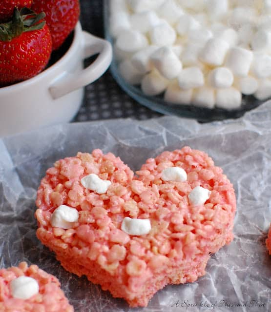 Strawberries and Marshmallow Krispy Treats