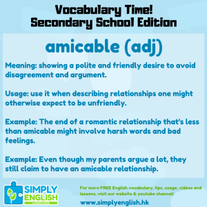 Simply English Learning Centre - Vocabulary Time - Here we go over the word amicable.