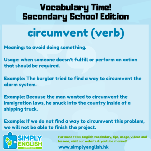 Simply English Learning Centre - Vocabulary Time - Here we go over the word circumvent.