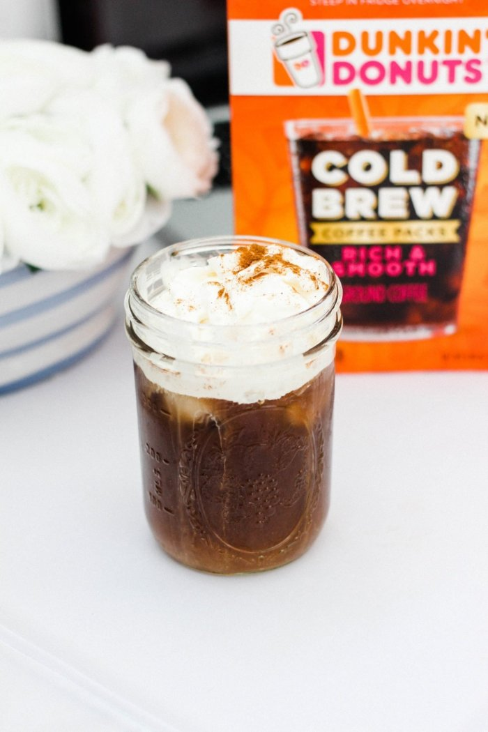 Easy Cold Brew with Cinnamon-Topped Whipped Cream