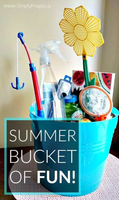 "Say goodbye to the ""I'm bored"" or ""There's nothing to do!"" sayings once and for all this summer. Spend half an hour or so gathering supplies for your summer bucket of FUN, and you'll be ready to go with at least 23 activities at a moment's notice."