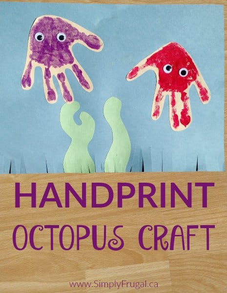 This Handprint Octopus Craft is a great activity for documenting hand size. It's always fun to look back to see how big we've grown!