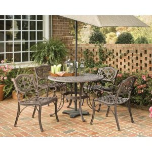 Home Styles 5555-308 Biscayne 5-Piece Outdoor Dining Set, Rust Bronze Finish, 42-Inch