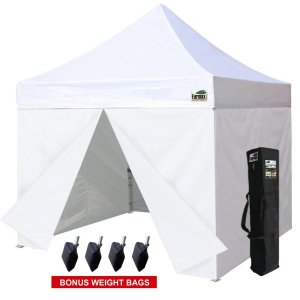 Eurmax 10 x 10 Pop up Canopy Commercial Tent Outdoor Party Shelter with 4 Zippered Sidealls and Carry Bag Bonus Canopy Sand Bags, White