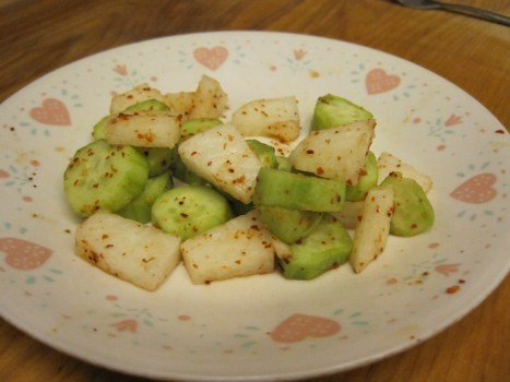 a small serving of cucumber and jicama salad