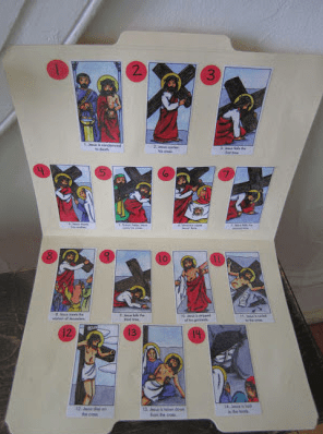 Stations of the cross images with matching pictures in a file foler