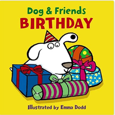 Dog & Friends Birthday book with dog and his presents on the cover