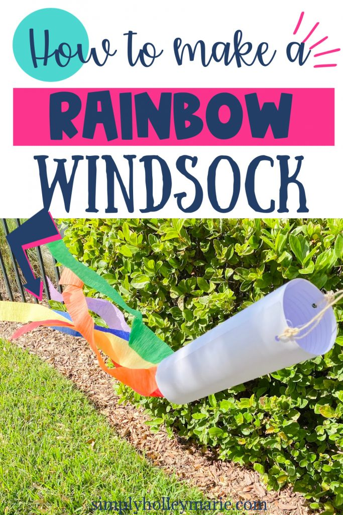 How to make a rainbow colored windsock- windsock blowing in the wind