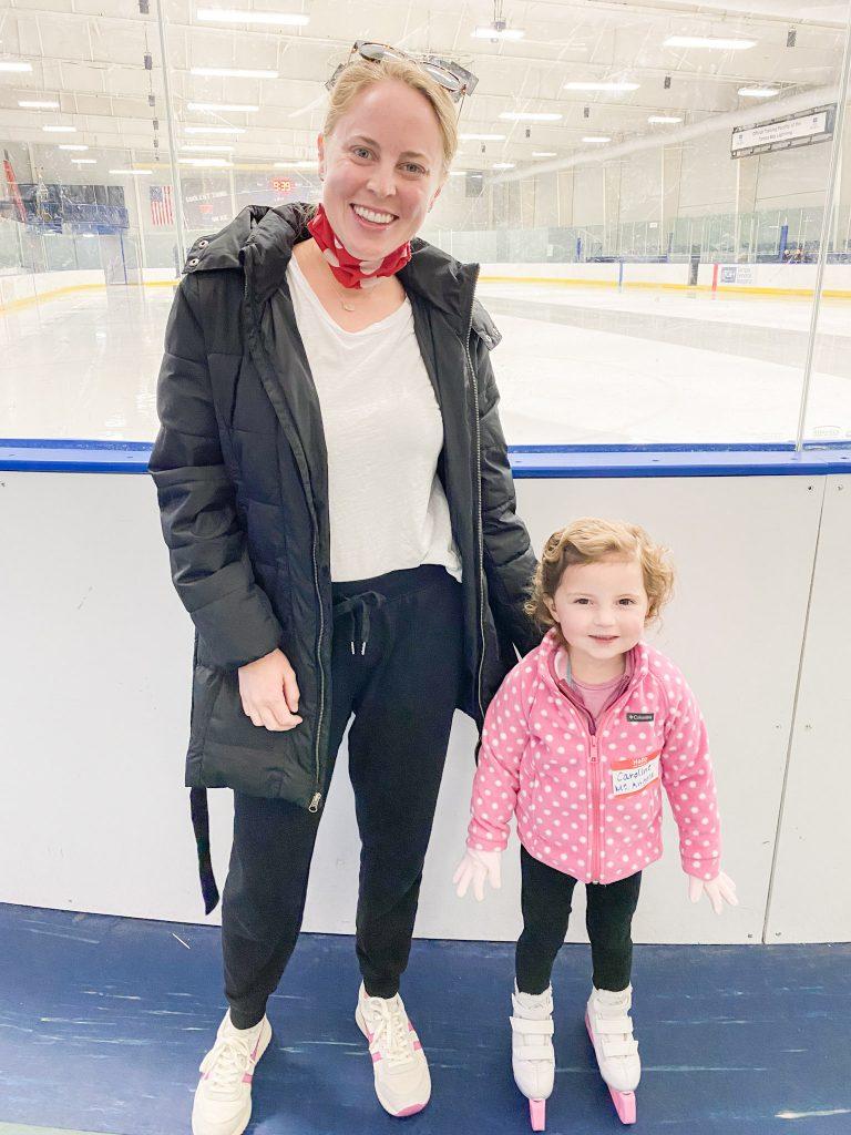 Holley and Caroline at the ice skating rink