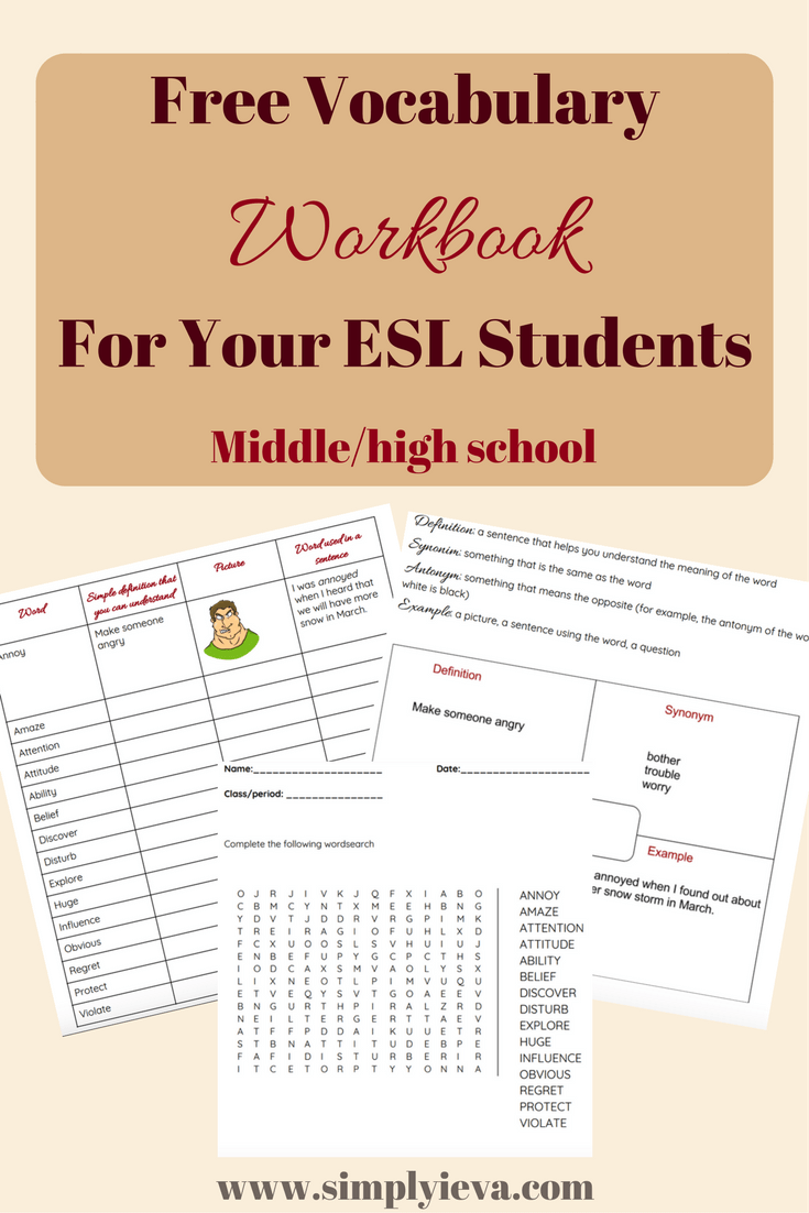 Vocabulary Workbook For Your Esl Students Simply Ieva
