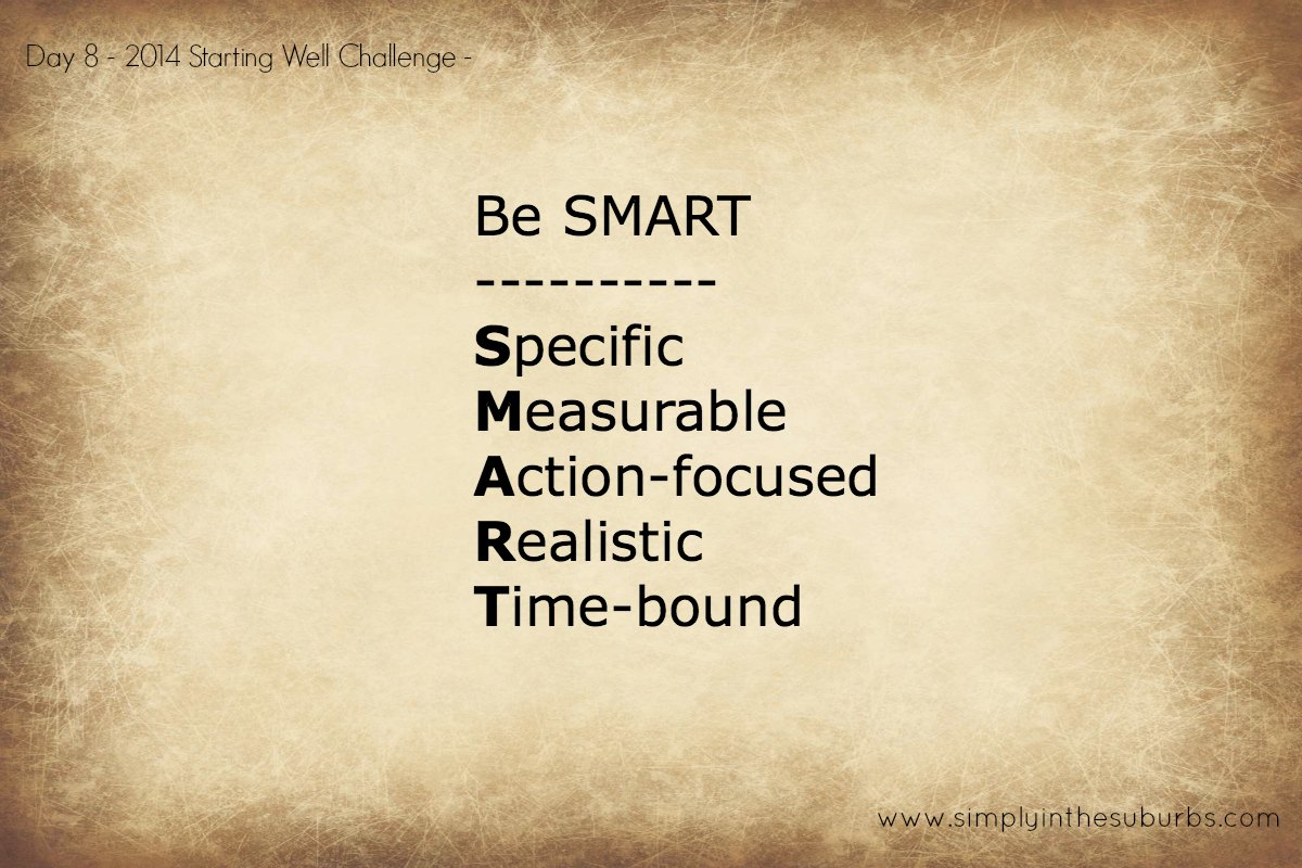 Day 8 Starting Well Challenge Make Your Goals Smart