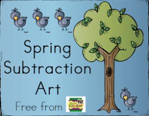 Subtraction Activity for Kinder, Subtraction Art, Math Center, Kindergarten, Simply Kinder