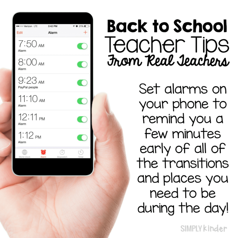 Back to School teacher tips from real teachers! Set alarms on your phone to make sure you are never late for lunch, recess, specials, or even just to start your math lesson!