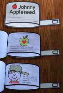 Johnny Appleseed book where students interact with the concepts!  Great apple printables from Simply Kinder.