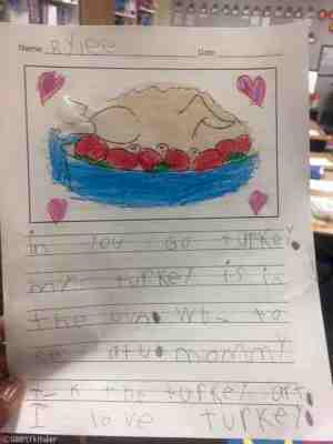 Students write stories about turkeys! Here's a cute one!