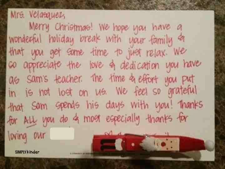 A heartfelt not from a parent to a teacher during the holidays!