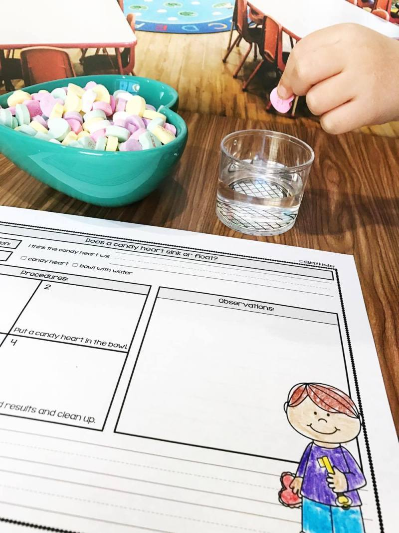 Conversation Heart Science for preschool, kindergarten, and first grades. These experiments are easy to follow and loaded with learning! Kids will love.