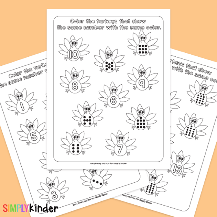 Turkey Counting Learning Printables
