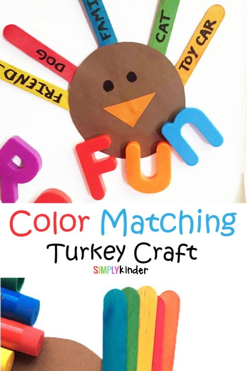 Color matching turkey craft for kids. Teach kids about gratitude while learning to match like colors.