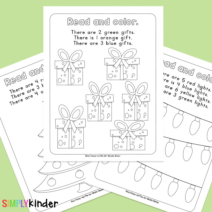 Read and Count Christmas Free Printables from Simply Kinder.