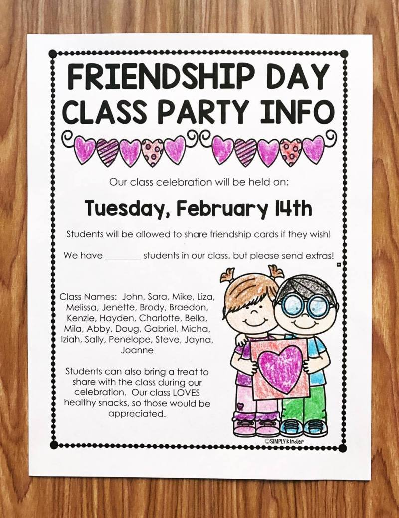 Free Valentine's Day Letter for a Class Party. Fully editable and has a Friendship Day option. Perfect for informing parents about student names and plans for your class party. A great way to start off your Valentine's Day Class Party in preschool, kindergarten, and first grade.