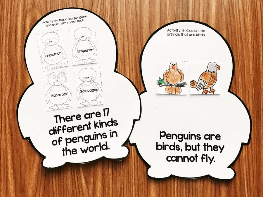 Penguin Craft Book: Kindergarten and first grade students will love this interactive book. Each bag has a fact with a fun activity on it.