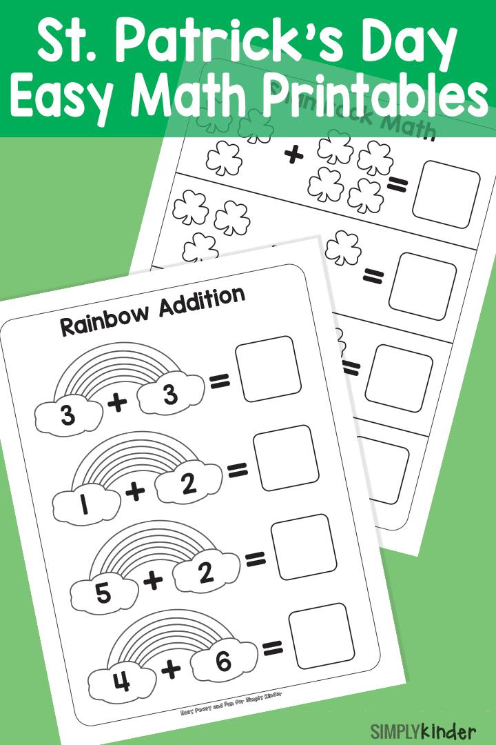 Simple St. Patricks Day Math Printables