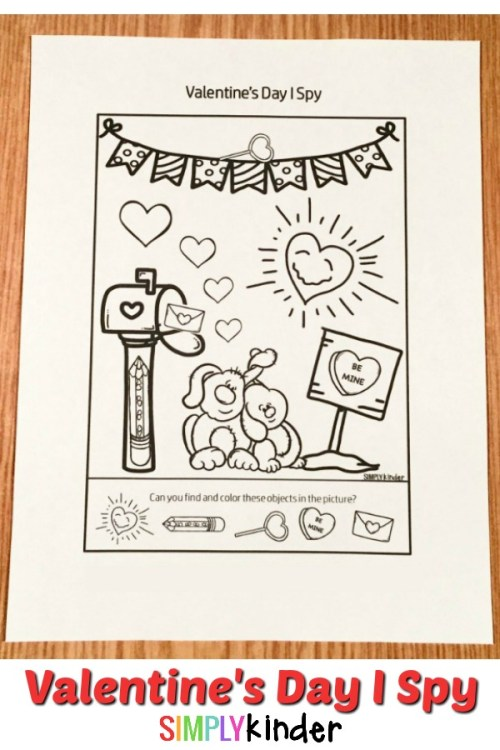 Printable I Spy Valentine's Day themed worksheet. Find and color the objects in the picture!