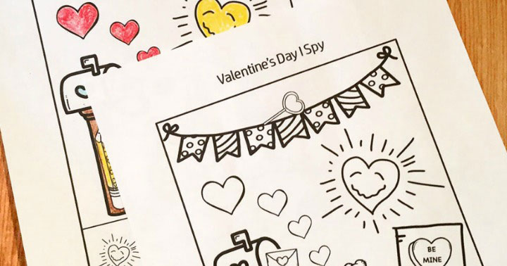 Valentine worksheets for Kindergarten