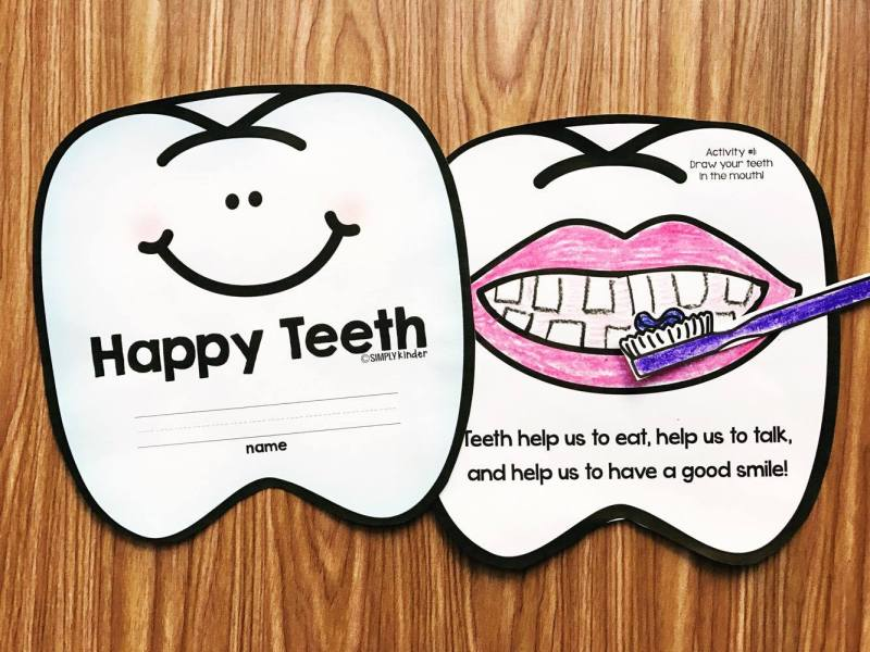 Happy Teeth Dental Health Book filled with actives for your preschool, kindergarten, and first grade students.  Each page is a simple sentence and matching activity like brushing the teeth or glueing on left over food.
