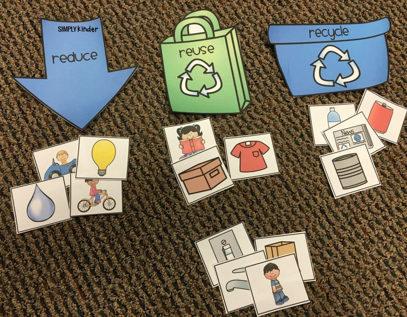 Free Recycling Sort Printable from Simply Kinder. Print this out to use as an anchor chart, a student activity, or for a center. Great for Earth Day in your preschool, kindergarten, and first grade classrooms.