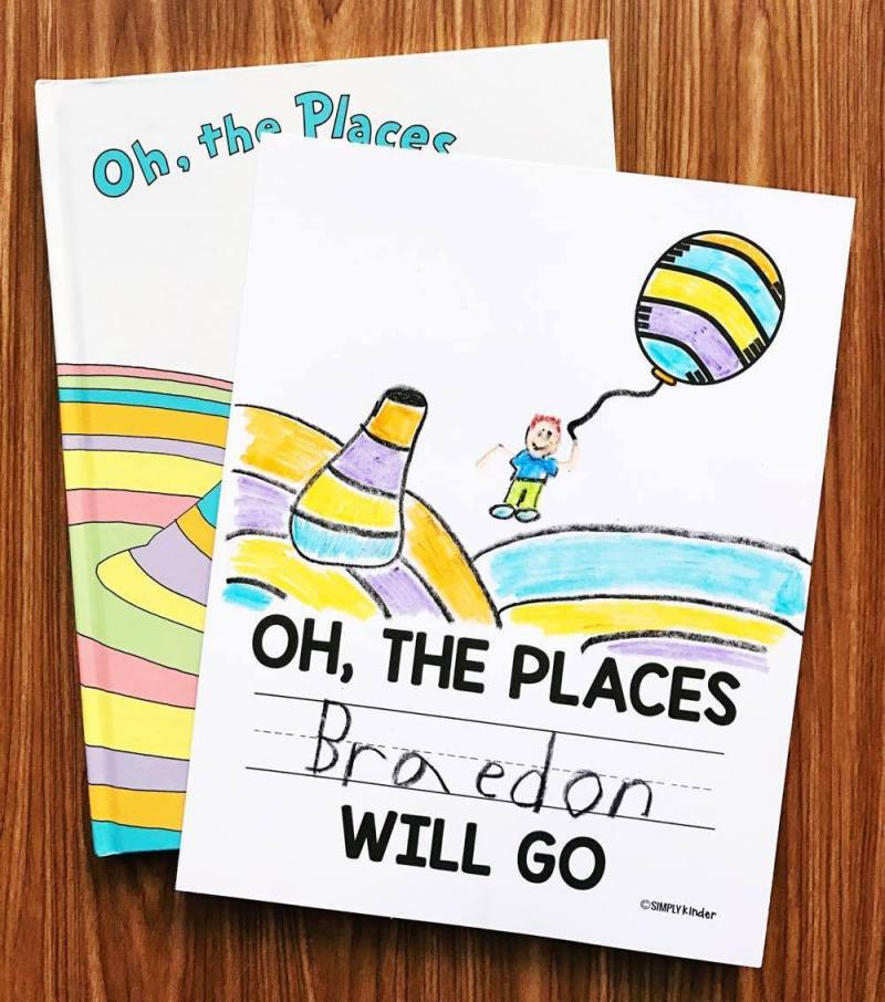 Oh, The Places You'll Go Free Printable from Simply Kinder. Students will love writing their name and drawing themselves flying away with the balloon.