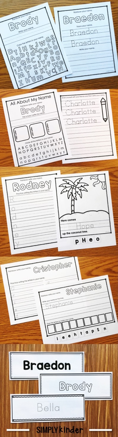 Editable Names Printables from Simply Kinder. Type the kids names once and multiple pages create for your entire class!
