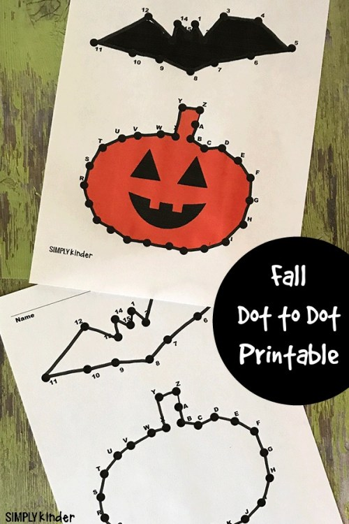Fall themed printable for kids. Develop number and letter recognition with this bat and pumpkin dot-to-dot printable.
