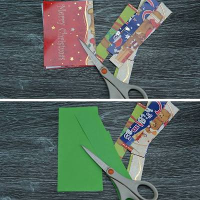 simply kinder recycled christmas cards step 1