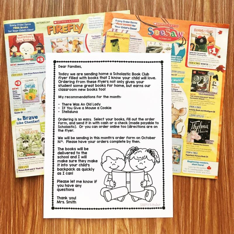 Free Book Club Letter the is editable from Simply Kinder. Send this letter home with your monthly Scholastic Book Club Flyer to help parents pick out books for their students!