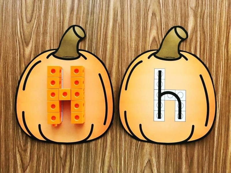 Pumpkin Alphabet Snap Cube Center: Quickly print and cut out these pumpkins to create this fun center for preschool and first grade. Just add snap cubes!