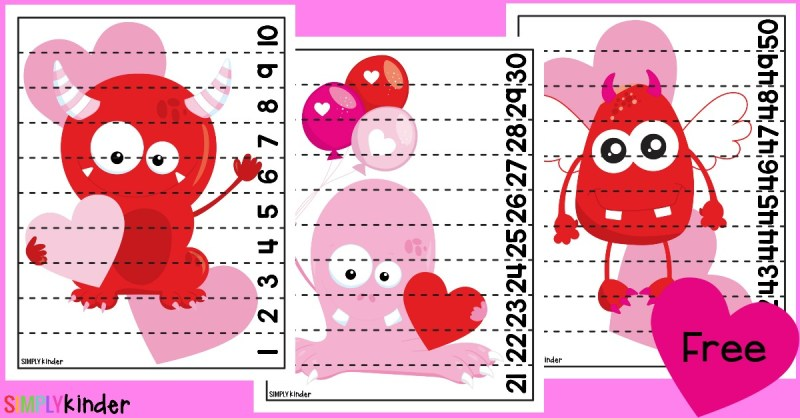 Valentine Monster Counting Strip Puzzles