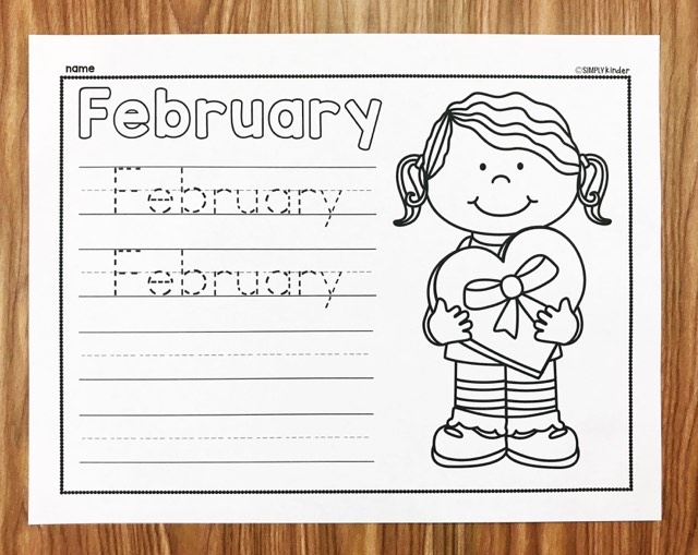 Teach your students to write the word February with these free February Writing Printables from Simply Kinder. Perfect for kindergarten and first grade students.