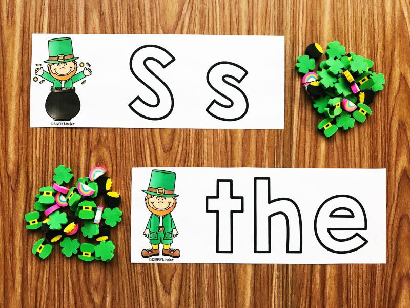 Build words and letters with this fun St. Patrick's Day Mini Eraser Center.  Build the letters and words and then count and record how many mini erasers it took.  Perfect for preschool, kindergarten, and first grade students.  Great for morning work, math centers, literacy centers, and STEM.