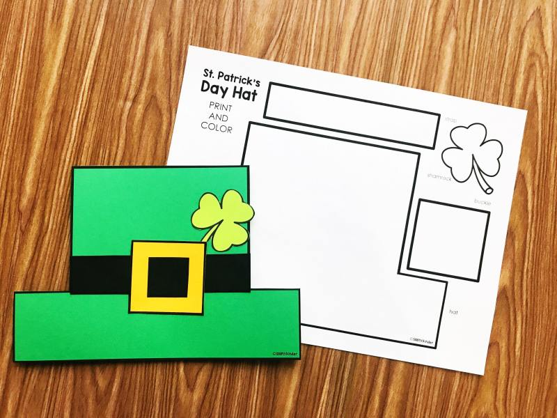 Free St. Patrick's Day hat from Simply Kinder.  Print on color paper or color it in.  Use as a craft or make into a hat!  Perfect for preschool, kindergarten, and first grades!