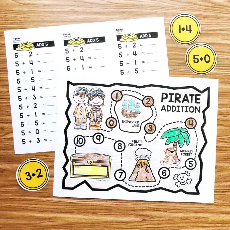 Free pirate math fact fluency activities perfect for kindergarten and first grade from Simply Kinder.  Students will track the facts they have mastered using the fun pirate map!