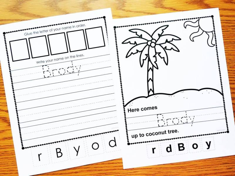 Name printables from Simply Kinder will help your students learn to write their names!