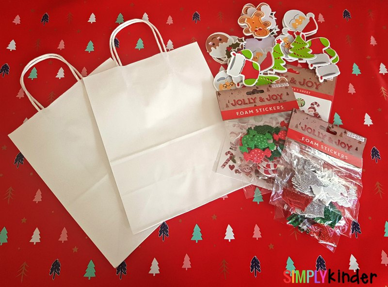 easy christmas sticker gift bags what you need