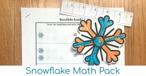 Snowflake printable math pack for kindergarten.