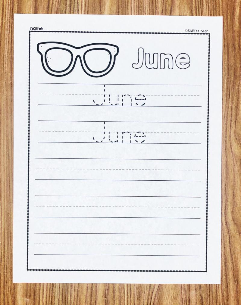 Teach your students to write the word June with these free Writing Printables from Simply Kinder. Perfect for kindergarten and first grade students.