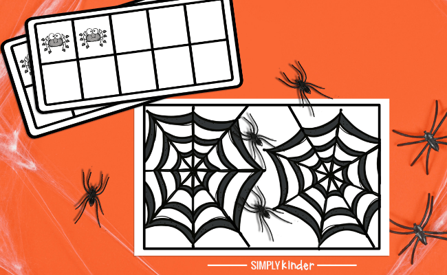 close up of spider counting game