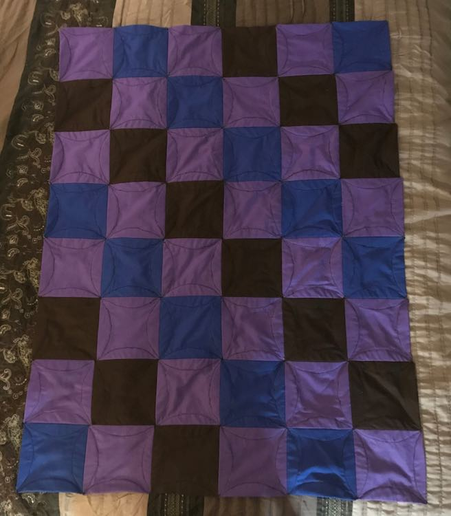 Overhead shot of the back of the quilt.